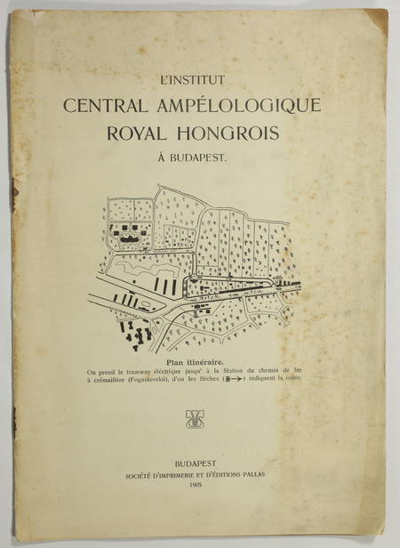 . Institut central ampélologique royal hongrois à Budapest, livre rare du XXe siècle