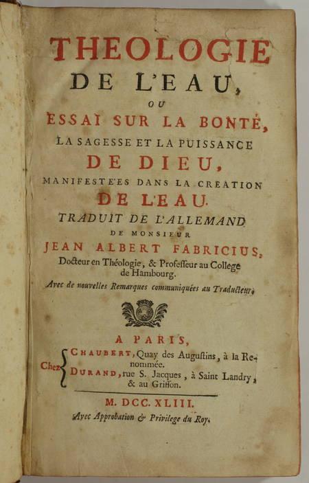 Jean Albert FABRICIUS - Théologie de l eau - 1743 - Photo 1, livre ancien du XVIIIe siècle