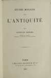 Constant MARTHA - Etudes morales sur l antiquité - 1883 - Relié - Photo 1, livre rare du XIXe siècle