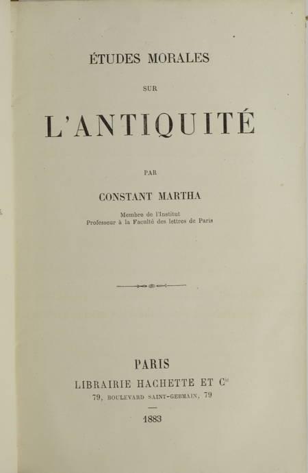 Constant MARTHA - Etudes morales sur l antiquité - 1883 - Relié - Photo 1 - livre de bibliophilie