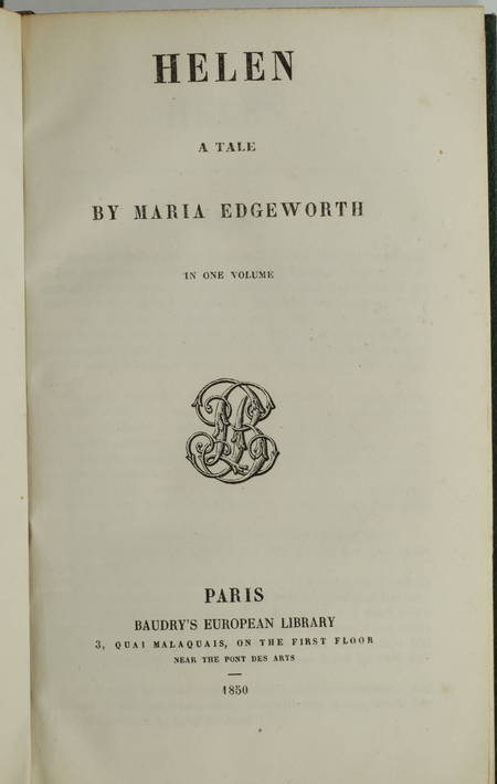 Maria EDGEWORTH - Helen - A tale - Baudry, 1850 - Photo 1 - livre de bibliophilie