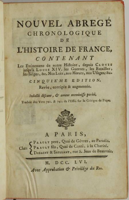 Nouvel abrégé chronologique de l histoire de France - 1756 - 2 volumes - Photo 1 - livre d occasion