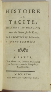 TACITE - Histoire - 1772 - Notes de Dotteville - 2 volumes - Plans - Photo 1 - livre ancien