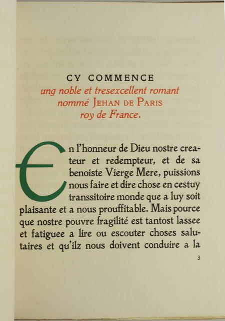 Le roman de Jehan de Paris, roy de France - 1931 - Dos mosaïqué - Maroquin - Photo 1, livre rare du XXe siècle