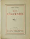 Joseph CONRAD - Des souvenirs - 1924 - 1/108 In-4 tellière - EO - Photo 1 - livre moderne