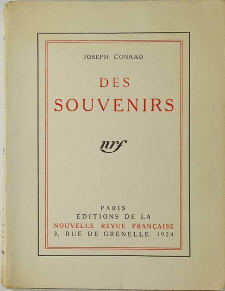 Joseph CONRAD - Des souvenirs - 1924 - 1/108 In-4 tellière - EO - Photo 1, livre rare du XXe siècle