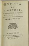 GRESSET - Oeuvres - Londres, Kermaleck, 1751 - 2 volumes - Photo 1 - livre du XVIIIe siècle