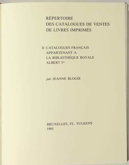 BLOGIE - Répertoire des catalogues de ventes de livres - II : France - 1985 - Photo 1, livre rare du XXe siècle
