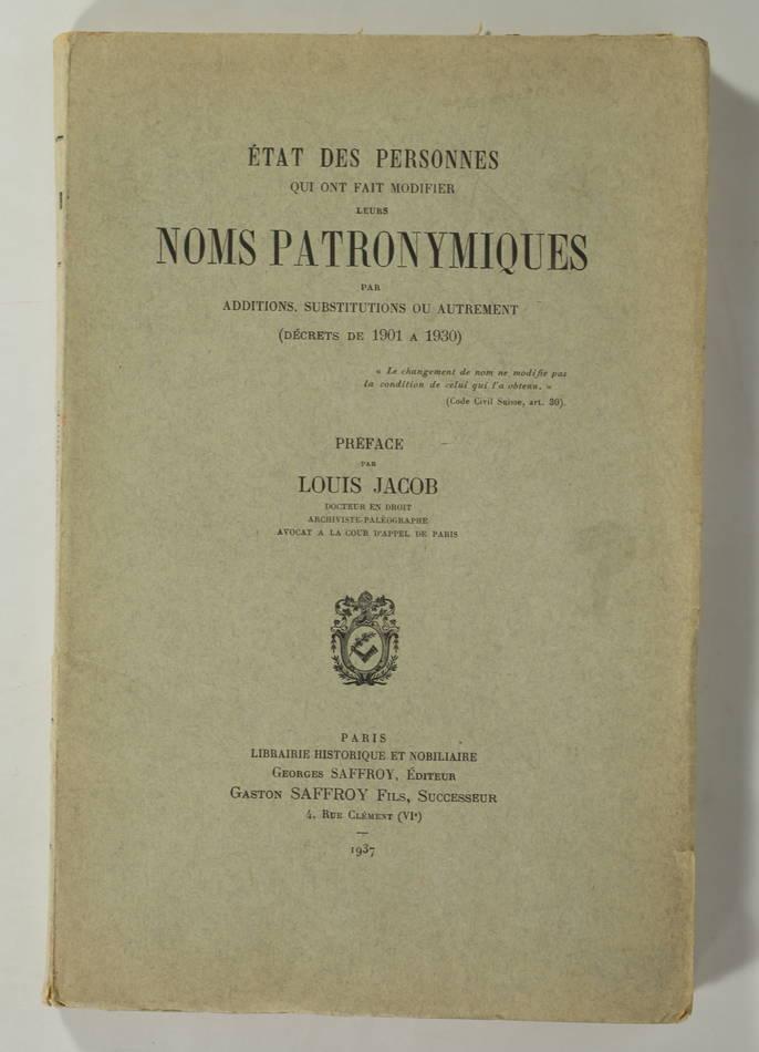 [Généalogie] JACOB - Changements de noms patronymiques - 1937 - Photo 0, livre rare du XXe siècle