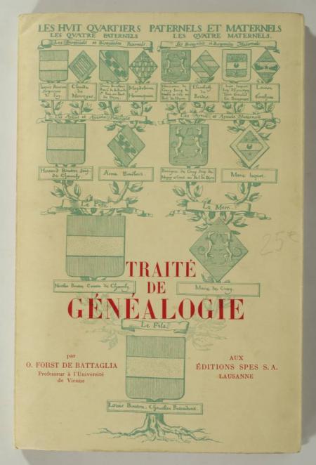 FORST de BATTAGLIA - Traité de généalogie - 1949 - Tableaux, bibliographie - Photo 0, livre rare du XXe siècle
