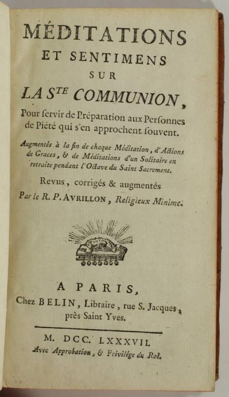 AVRILLON - Méditations et sentiments sur la Ste communion - 1787 - Photo 1, livre ancien du XVIIIe siècle