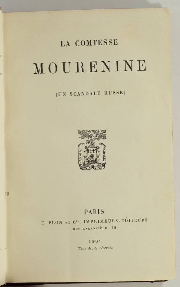 La comtesse Mourenine - Un scandale russe - 1881 - Rare - Photo 0, livre rare du XIXe siècle