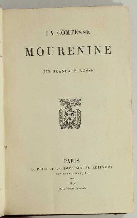 . Comtesse Mourenine. Un scandale russe, livre rare du XIXe siècle