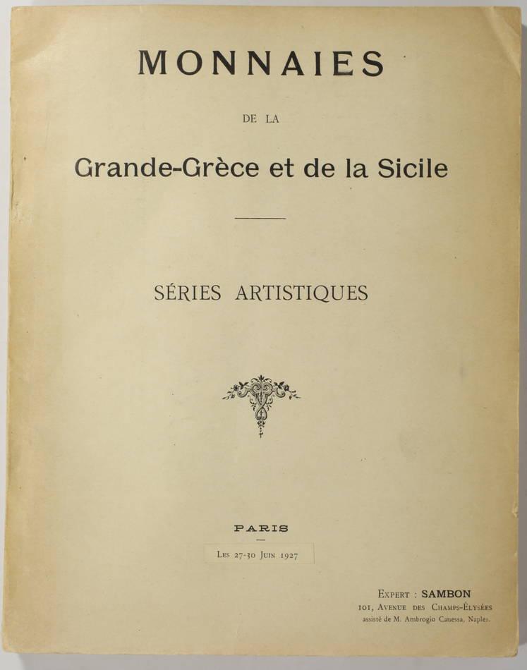 SAMBON - Monnaies de la Grande-Grèce et de la Sicile - Series artistiques - 1927 - Photo 0, livre rare du XXe siècle