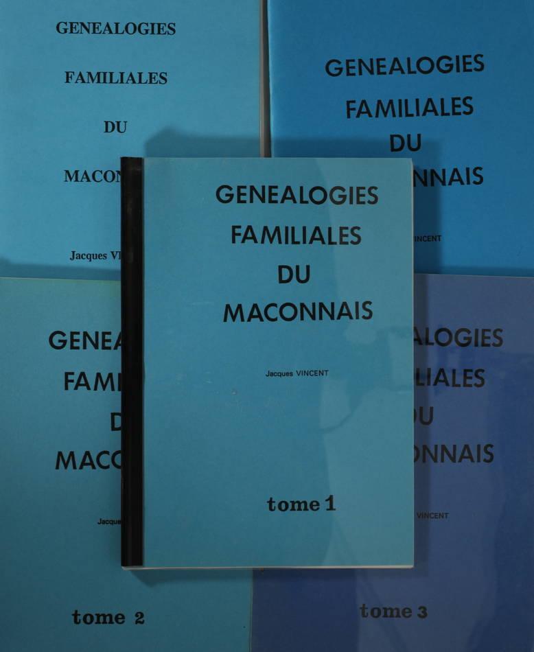 Jacques VINCENT - Généalogies familiales du Mâconnais - 5 fascicules - Photo 0, livre rare du XXe siècle