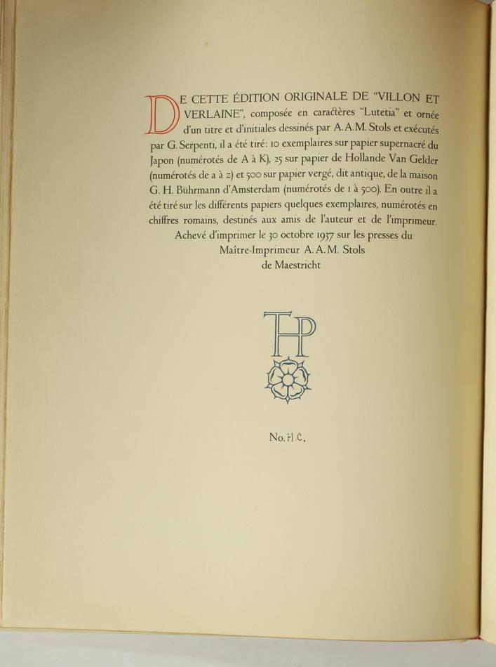 VALERY - Villon et Verlaine - 1937 - EO - Bel exemplaire relié - Photo 2, livre rare du XXe siècle
