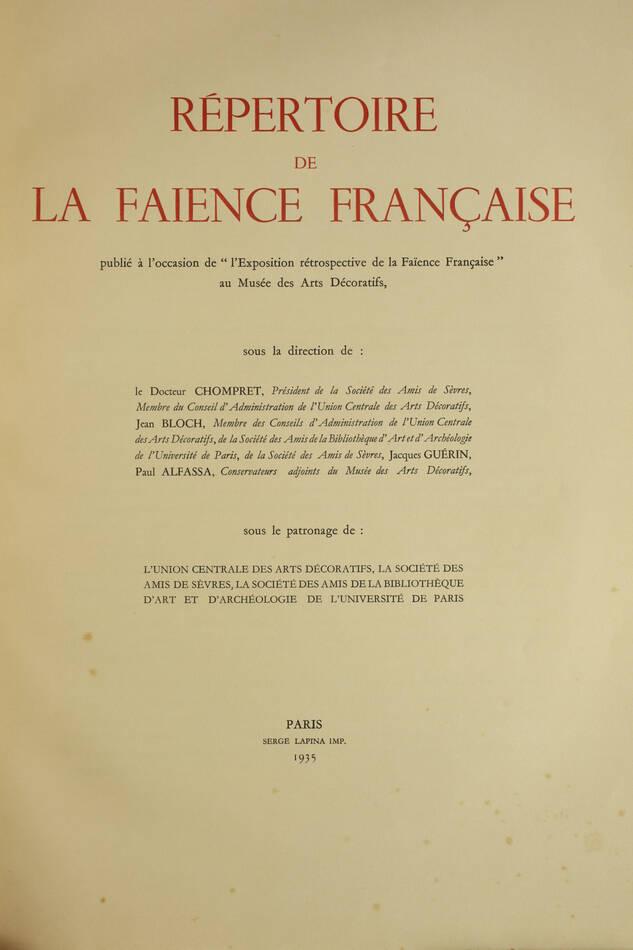 CHOMPRET - Répertoire de la faïence française - 1935 - 6 volumes in-folio - Photo 1, livre rare du XXe siècle