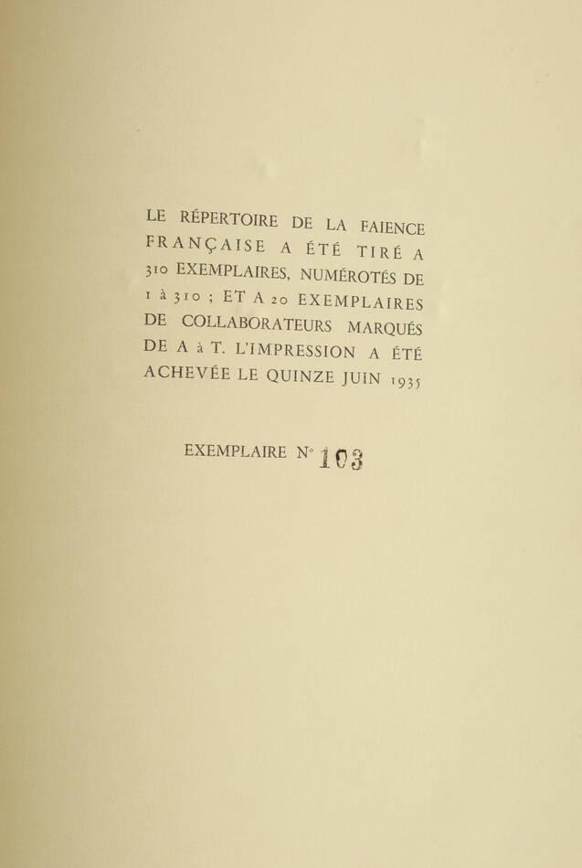 CHOMPRET - Répertoire de la faïence française - 1935 - 6 volumes in-folio - Photo 3, livre rare du XXe siècle
