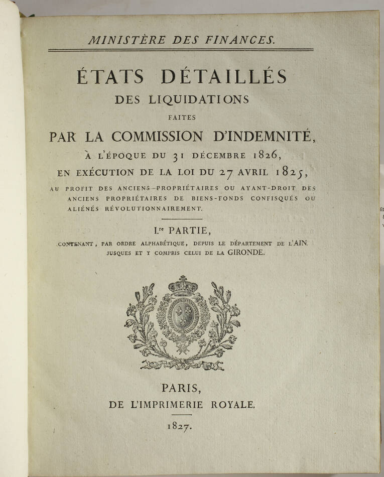 Emigrés - Anciens propriétaires de biens confisqués pendant la Révolution - 3 v - Photo 3, livre rare du XIXe siècle