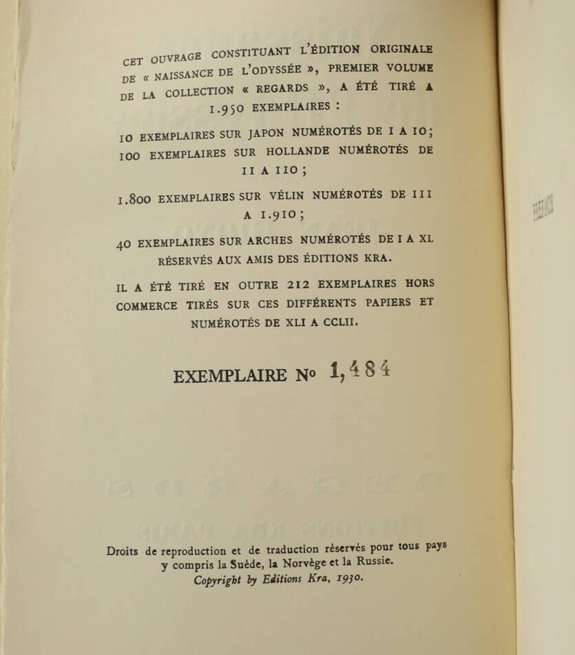 Jean GIONO - Naissance de l Odyssée - 1930 - EO sur vélin - Photo 0, livre rare du XXe siècle