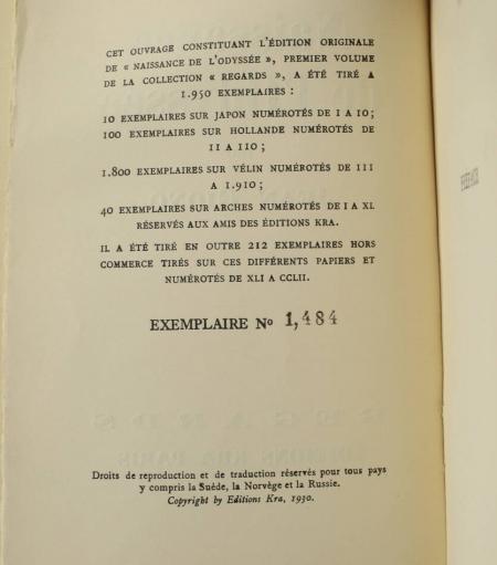 GIONO (Jean). Naissance de l'Odyssée, livre rare du XXe siècle