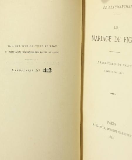 BEAUMARCHAIS. Le mariage de Figaro, livre rare du XIXe siècle