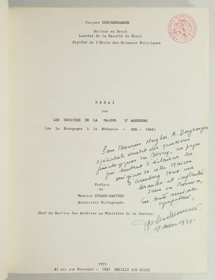 DESCHEEMAEKER - Origines de la maison d Arenberg - 426 à 1066 - 1971 - Envoi - Photo 1, livre rare du XXe siècle