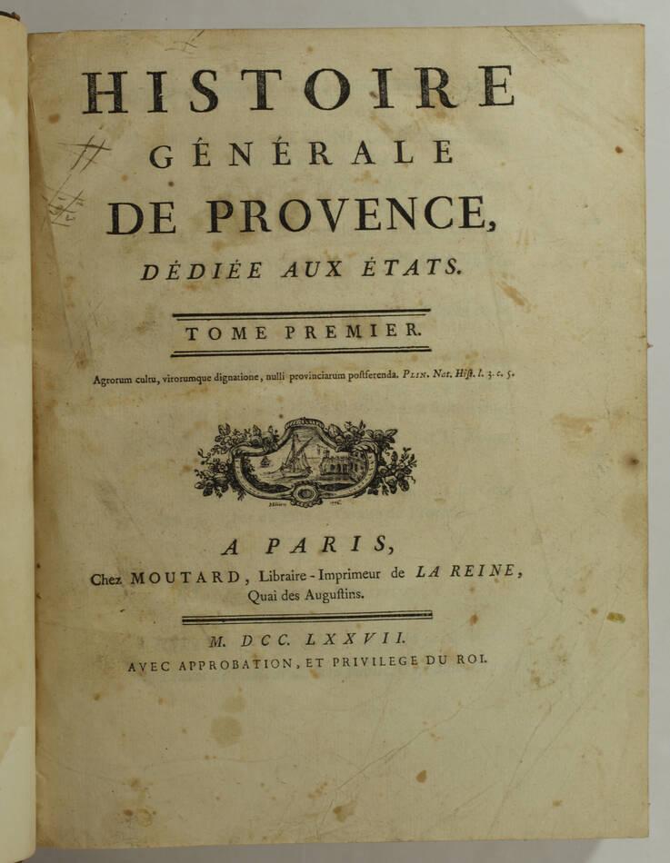 PAPON - Histoire de la Provence - 4 volumes in-quarto - 1777 - Cartes - monnaies - Photo 1, livre ancien du XVIIIe siècle