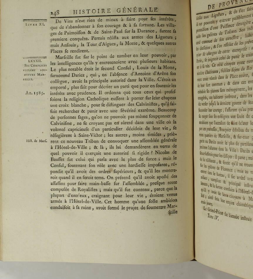 PAPON - Histoire de la Provence - 4 volumes in-quarto - 1777 - Cartes - monnaies - Photo 4, livre ancien du XVIIIe siècle