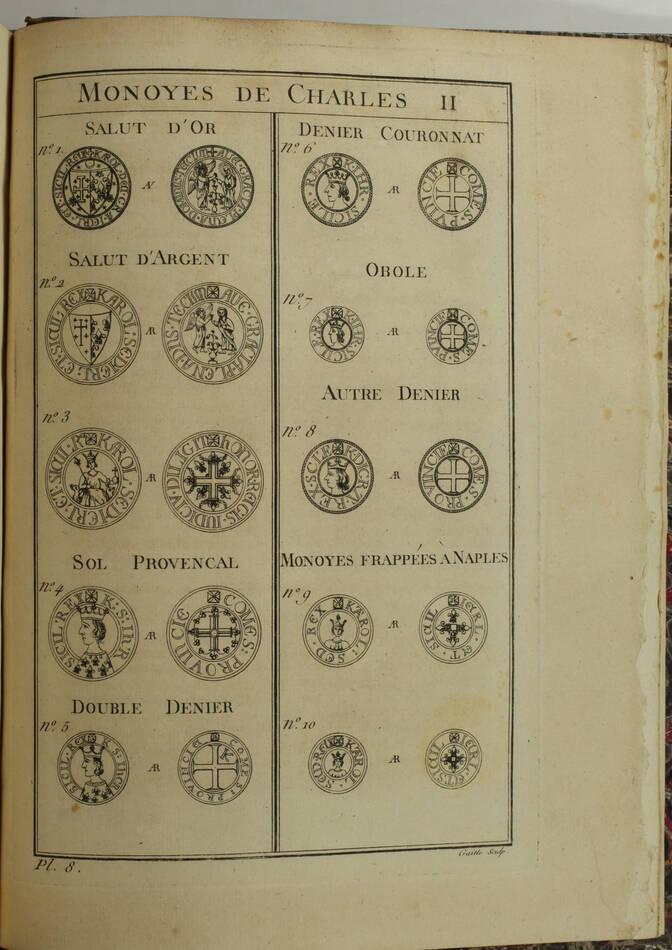 PAPON - Histoire de la Provence - 4 volumes in-quarto - 1777 - Cartes - monnaies - Photo 8, livre ancien du XVIIIe siècle