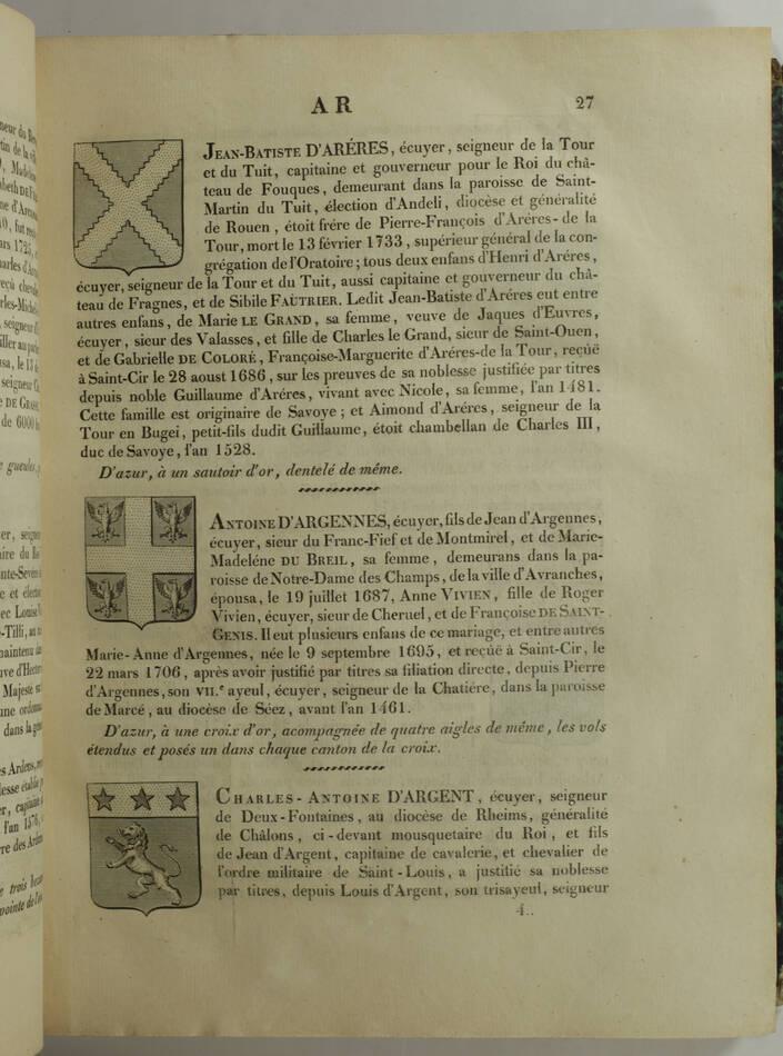 HOZIER - Armorial général de la France - 1821-1823 - 2 volumes, portrait - Rare - Photo 6, livre rare du XIXe siècle