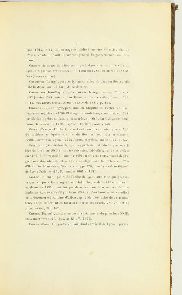 BREGHOT - Biographie lyonnaise - Catalogue des lyonnais dignes de mémoire - 1839 - Photo 2, livre rare du XIXe siècle