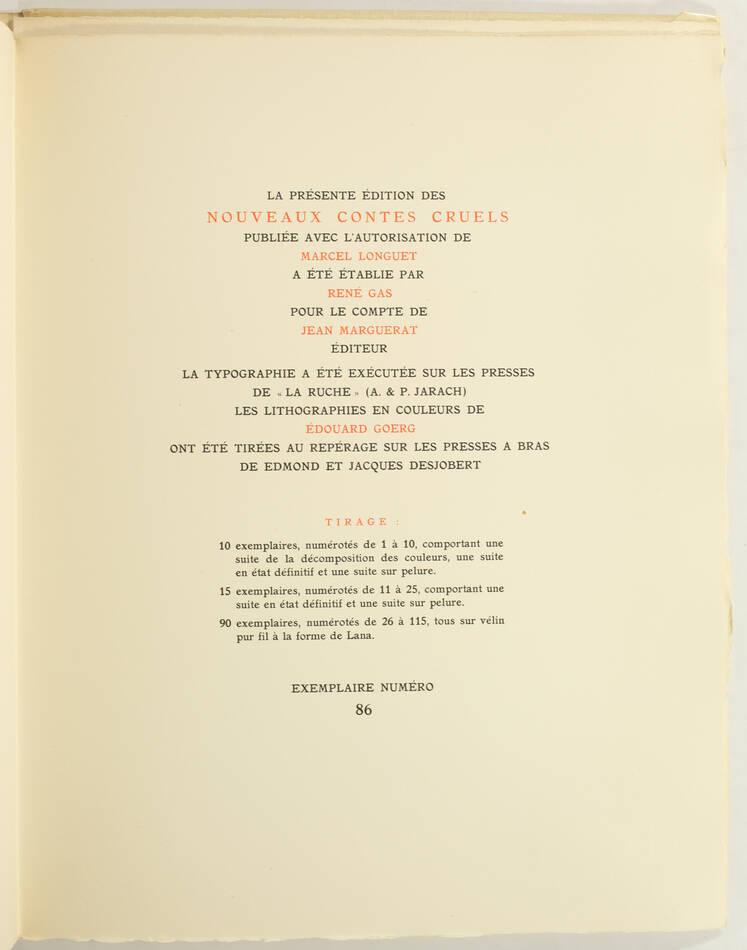 VILLIERS de l ISLE ADAM - Nouveaux contes cruels - 1947 - Ill. par GOERG 1/115 - Photo 3, livre rare du XXe siècle