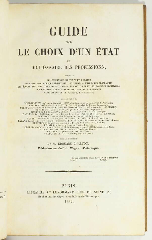CHARTON - Dictionnaire des professions - 1842 - Ex-libris Visconti di Modrone - Photo 1, livre rare du XIXe siècle