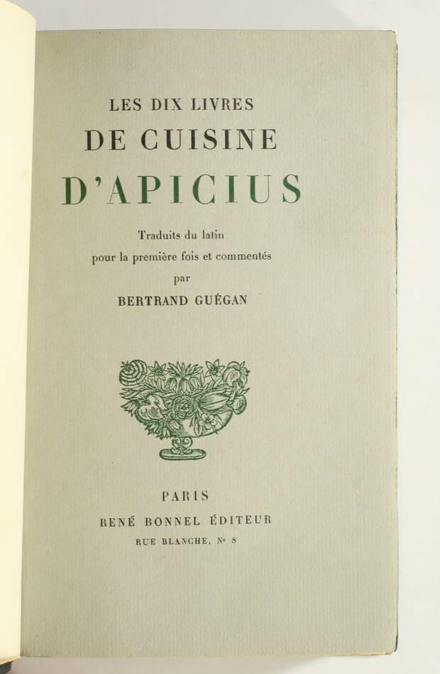 APICIUS - Les dix livres de cuisine d Apicius - 1933 - Relié -  Numéroté - Photo 1, livre rare du XXe siècle