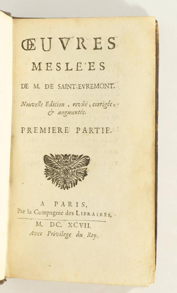 SAINT-EVREMONT - Oeuvres meslées - Paris, 1697 - 5 vol. in-12 - Photo 1, livre ancien du XVIIe siècle