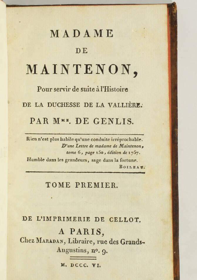 GENLIS - Madame de Maintenon - 1806 - 2 volumes - EO - Photo 1, livre ancien du XIXe siècle