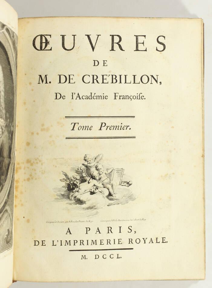 CREBILLON - Oeuvres - 1750 - 2 volumes in-4 - Figures d après Boucher - Photo 3, livre ancien du XVIIIe siècle
