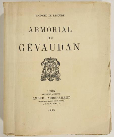 Vicomte de LESCURE - Armorial du Gévaudan - 1929 - In-4 - Planches héraldiques - Photo 0, livre rare du XXe siècle