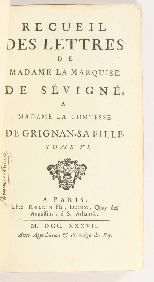 Lettres de madame la marquise de Sévigné 1738-1737 - 6v - EO des 2 derniers vols - Photo 2, livre ancien du XVIIIe siècle