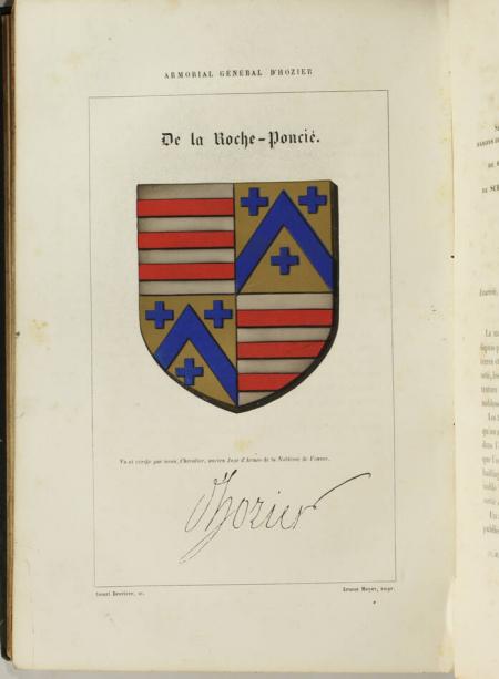 HOZIER. Armorial général d'Hozier ou registre de la noblesse de france, continués par M. le président d'Hozier, ancien juge d'armes de France et vérificateur des armoiries près le conseil du sceau, et M. le comte d'Hozier, son frère, livre rare du XIXe siècle