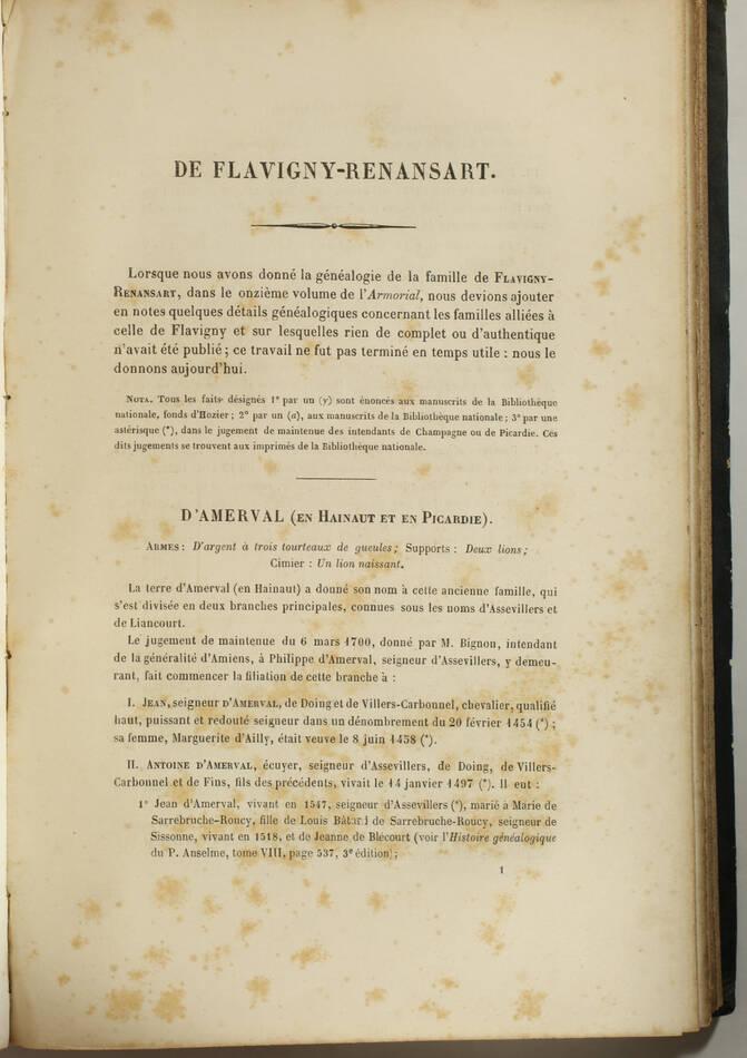 Armorial général d Hozier - 2 parties en un volume - L Ecureux (1854) Très rare - Photo 6, livre rare du XIXe siècle