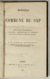 [Normandie] COURIOL - Histoire de la commune du Sap - 1860 - Photo 0, livre rare du XIXe siècle
