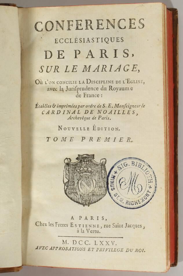 Conférences ecclésiastiques de Paris sur le mariage - 1775 - 5 volumes - Photo 1, livre ancien du XVIIIe siècle