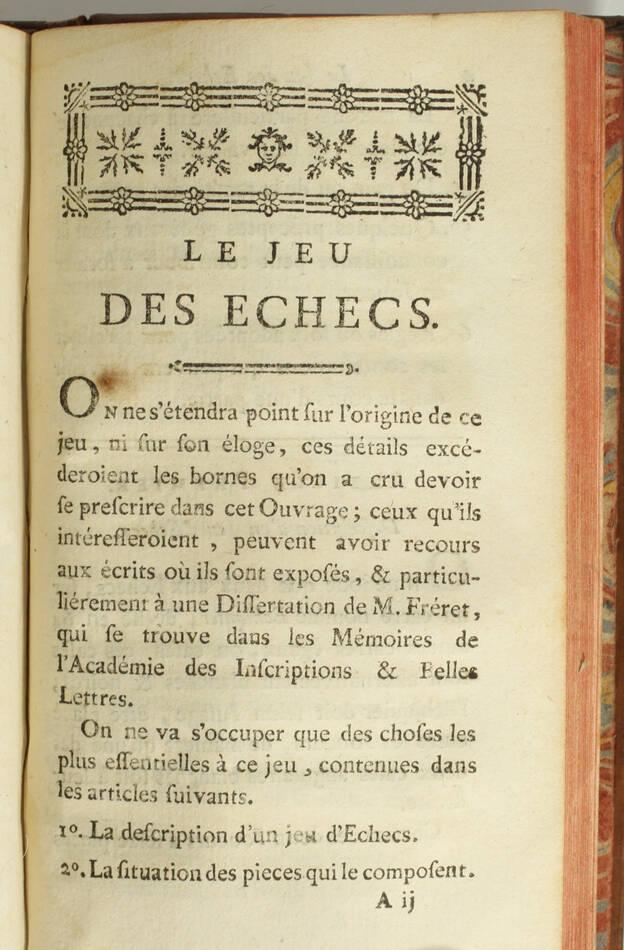 Almanach des jeux - 1786 - Jeu des échecs par M. Philidor - Photo 2, livre ancien du XVIIIe siècle