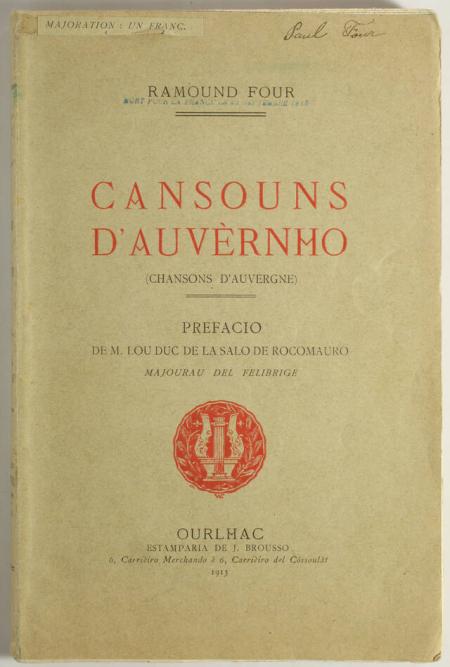 FOUR (Raymond). Cansouns d'Auvernho (Chansons d'Auvergne), livre rare du XXe siècle