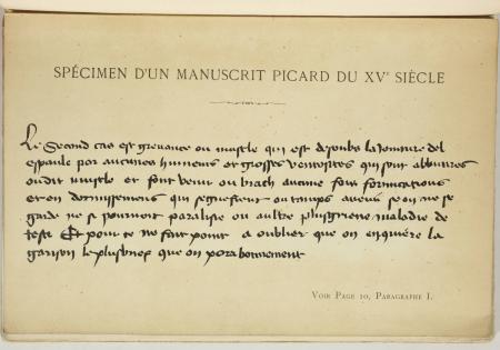 [Médecine] Remèdes - Quelques pages manuscrit d'un picard du 15e siècle - 1897 - Photo 0, livre rare du XIXe siècle