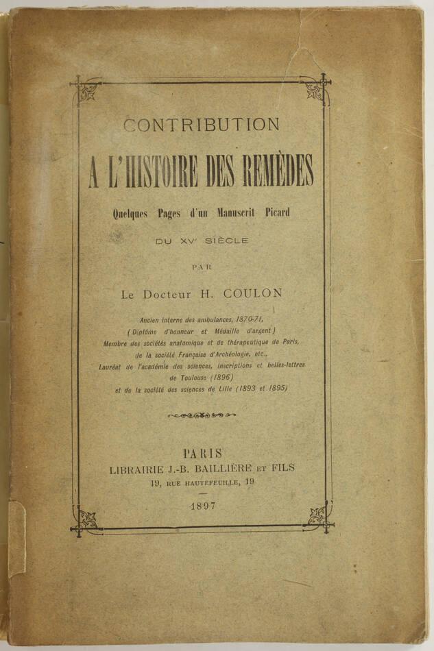 [Médecine] Remèdes - Quelques pages manuscrit d un picard du 15e siècle - 1897 - Photo 1, livre rare du XIXe siècle