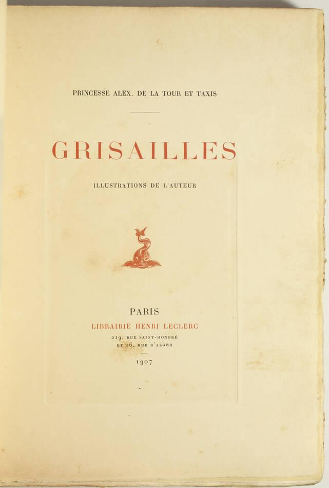 Princesse de la Tour et Taxis - Grisailles - 1907 - Eaux-fortes - Photo 2, livre rare du XXe siècle