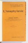 [Médecine] Charles RICHET - L anaphylaxie  - 1923 - Relié - Photo 1, livre rare du XXe siècle
